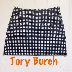 Tory Burch Navy/white checkered skirt